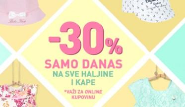 Samo danas ONLINE POPUST -30% na haljine i kape