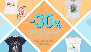 Samo danas ONLINE POPUST -30% na majice