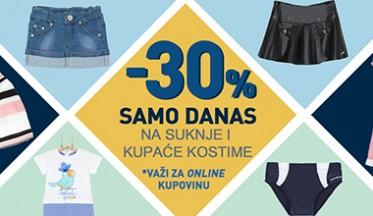 Samo danas ONLINE POPUST -30% na suknje i kupaće kostime